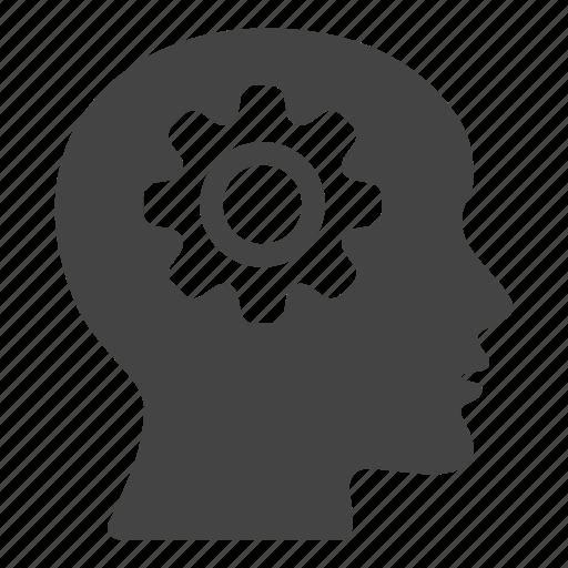 brain, cogwheel, creative, head, mind, people, productivity icon