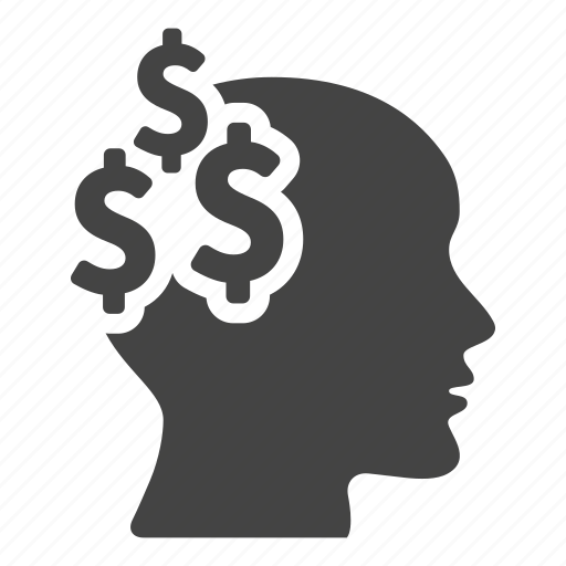 bank, business, coins, commerce, creative, dollars, head icon