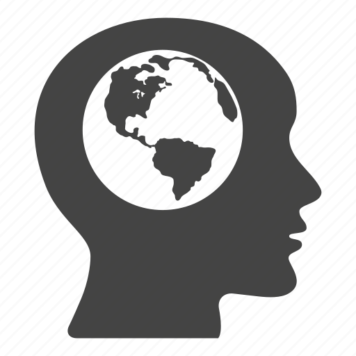 brain, creative, earth, globe, head, international, worldwide icon