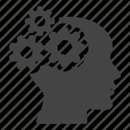 brain, cogwheels, creative, head, mind, people, productivity icon