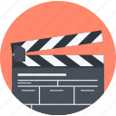 action, design, flat design, movie, process, round icon
