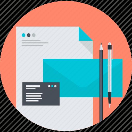 branding, business, corporate identity, design, flat design, paper, stationary icon