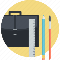 business, flat design, management, project, round, tool icon