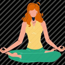 woman, sitting, lotus, pose, enjoy, yoga, exercise