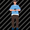 boy, using, smartphone, gadget, device