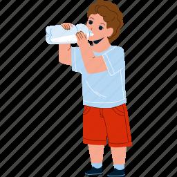 boy, kid, drinking, natural, water, drink