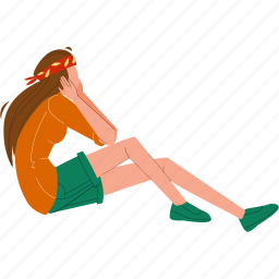 young, girl, sitting, grass, dreaming