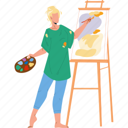 woman, drawing, picture, paint, brush
