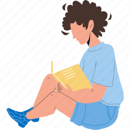 boy, child, sitting, floor, reading, education, book