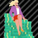 businesswoman, sitting, earned, financial, wealth, money
