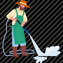 gardener, man, washing, asphalt, water, stream