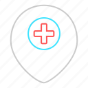 emergency, hospital, location, map pointer, medical, pointer icon