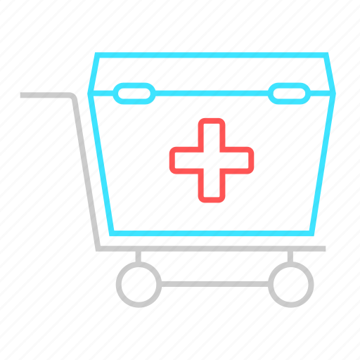 first aid, first aid box, health care, medical, medical box, medical cart, medication icon