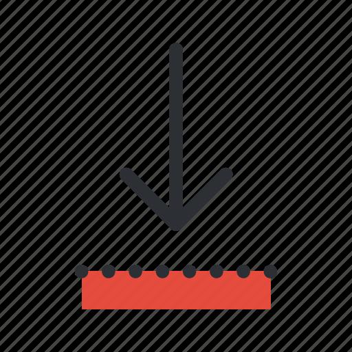 arrow, decrease, direction, down, download, guardar, save, update icon