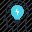 bulb, head, idea, light, mind, solution, thinking