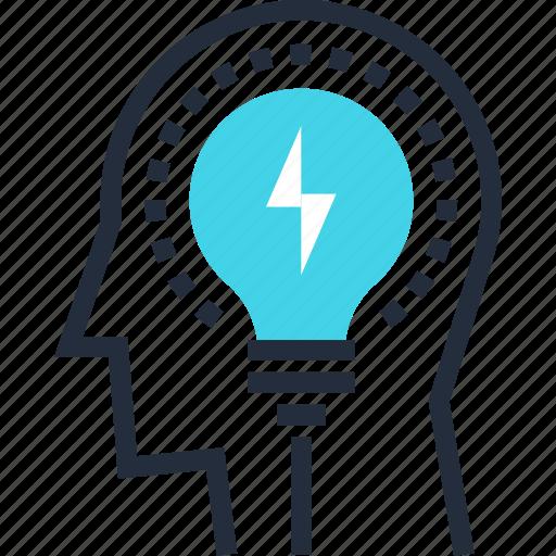 bulb, head, idea, light, mind, solution, thinking icon