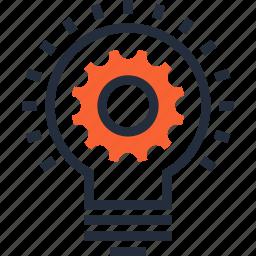 bulb, cogwheel, concept, development, idea, lamp, light icon