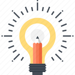 art, bulb, draw, idea, imagination, light, pencil icon