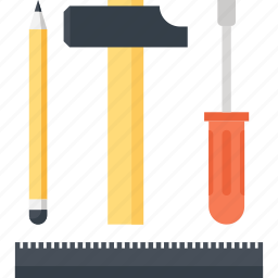 design, development, engineering, hammer, instrument, pencil, tool icon
