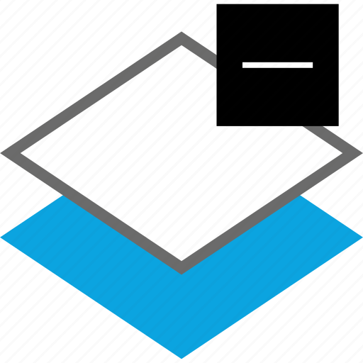 delete, layer, line, negative icon
