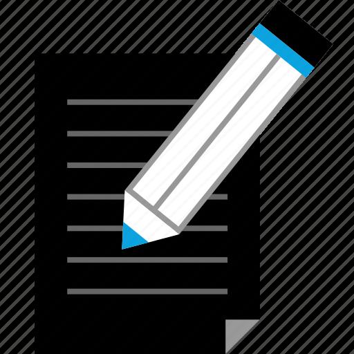 page, paper, pencil icon