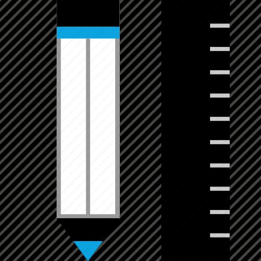 measure, pencil, ruler icon