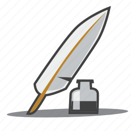 feather pen, ink bottle, quill pen icon