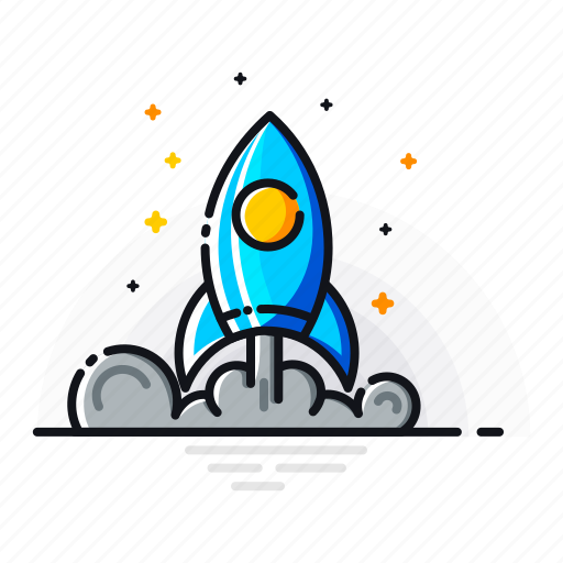 fly, mission, promotion, rocket, space, spaceship, start icon