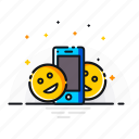 cell, cheerful, emoticon, face, happy, mobile, phone icon