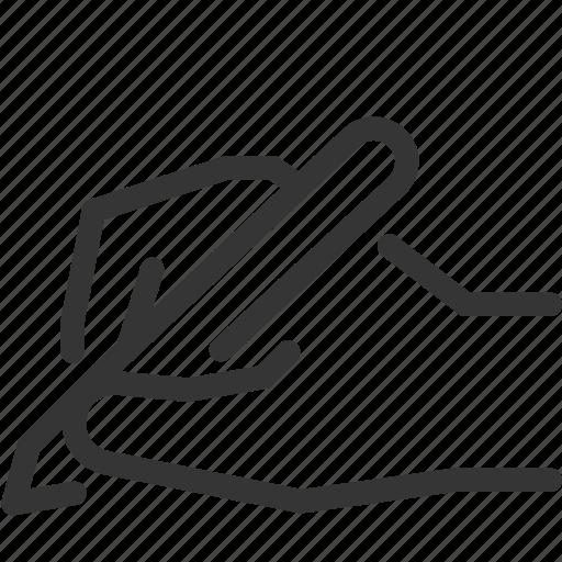 creativity, hand, idea, note, script, sign, write icon
