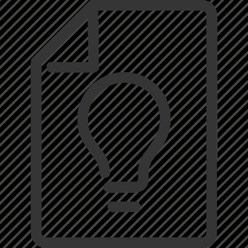 creativity, development, document, idea, lamp, project icon