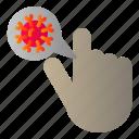 covid, hand, prohibition, virus icon