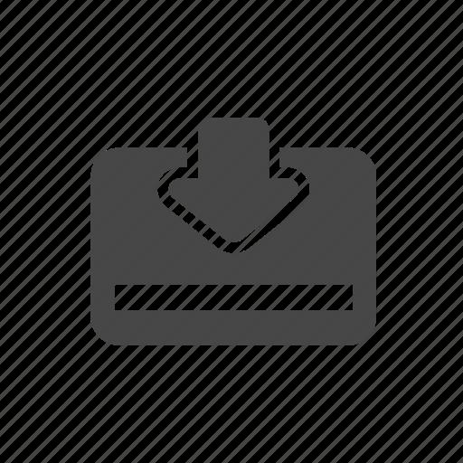 arrow, credit card, down, download icon