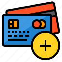add, banking, buy, credit card, money, payment icon