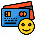 banking, buy, credit card, money, payment, smile icon