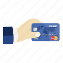card, credit, credit card in hand, debit, hand, pay, payment icon