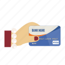 card, credit, credit card in hand, debit, payment, store, visa icon