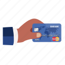 bank, card, credit, credit card in hand, hand, money, payment icon