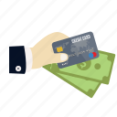 card, charge, credit, credit card in hand, hand, money, payment icon