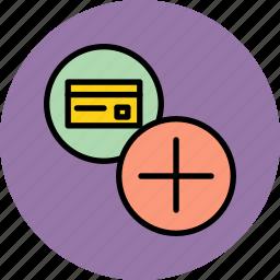 add, banking, card, credit, debit, new, register icon