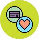 banking, card, charity, credit, debit, donate, love icon