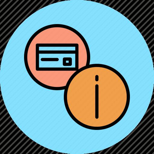 banking, credit card, debit card, details, info, information, usage icon