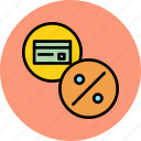 banking, card, credit, debit, discount, interest, rate icon