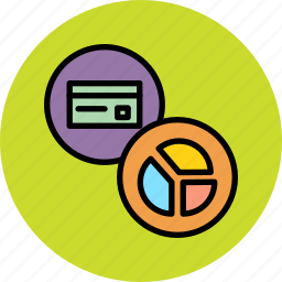 banking, card, chart, credit, debit, pie, usage icon