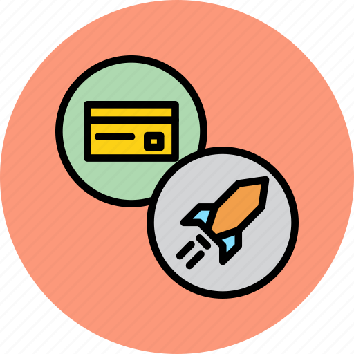 banking, card, credit, debit, payment, rocket, superfast icon