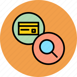 banking, card, credentials, credit, debit, find, search icon