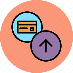 banking, card, credentials, credit, debit, send, store icon