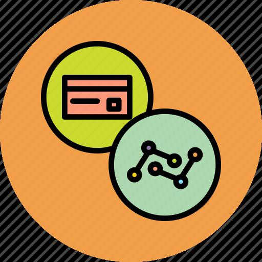 analytics, banking, card, credit, debit, graph, statistics icon