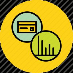 analysis, banking, card, credit, debit, report, statistics icon