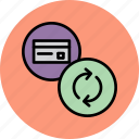 banking, card, credit, debit, details, sync, update icon